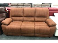 Brown suede fabric 3 seater sofa