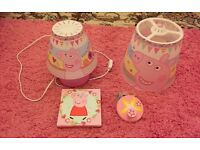 Peppa pig bedroom items - lamp , shade and picture