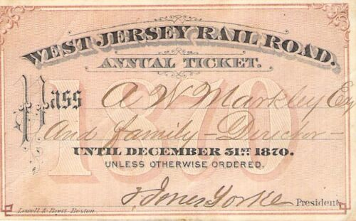 1870 WEST JERSEY RAILROAD RAILWAY RR RY PASS