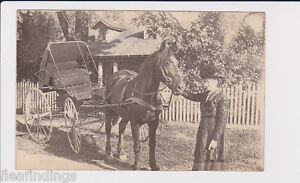 Early RPPC Woman Large Hat Deformed Huge Nose Horse & Buggy Picket Fence