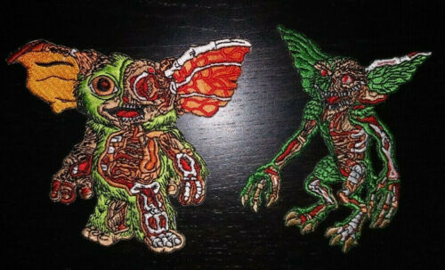 PATCHES - Set of TWO Embroidered Gremlins & Mogwai iron on patch - 80s movie