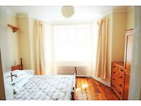 Quiet, comfortable double room overlooking a garden.