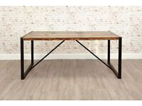 Industrial Reclaimed Boatwood & Steel Dining Table