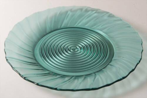 "A SET OF FOUR Ultramarine Teal Blue  Swirl  SCALLOPED   9 1/8"" PLATES"