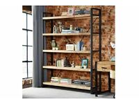 Very Large Industrial Steel Hardwood Bookcase Reclaimed Rustic Wood Shelf Open Back