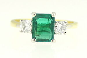 Emerald and Diamond Three Stone Ring 18ct Yellow Gold