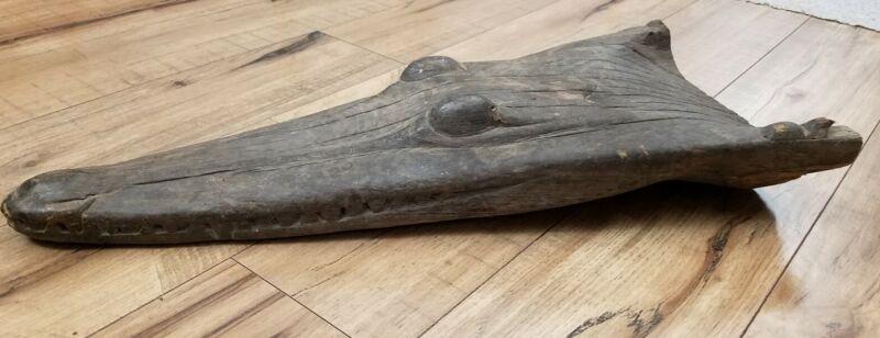 "22"" Papua New Guinea Crocodile Alligator Dugout Canoe Prow Carved Wood"