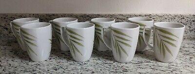 "Set of 8 Corelle Coordinates Bamboo Leaf 12 oz Porcelain Coffee Mug Tea Cup 4.5"""