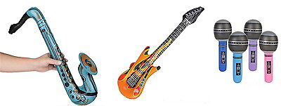 6 EACH  INFLATABLE GUITARS, SAXOPHONES, AND MICROPHONES KARAOKE PARTY CARNIVAL - Inflatable Microphones And Guitars