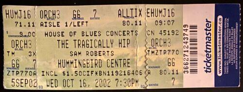 2002 Tragically Hip Unused Concert Ticket Music Toronto Hummingbird Centre