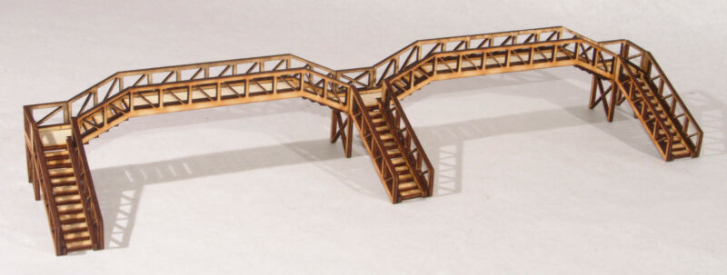 FB004 Platform Footbridge Triple Flight Quad Span OO Gauge Model Laser Cut Kit