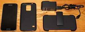Samsung S5 on Bell with Case, Clip Holder & Charger