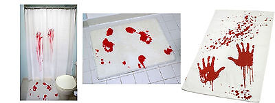Bloodbath Set - Hand Towel - Shower Curtain - Bathmat - Blood Bloody Bath Set   (Bloody Shower Curtain)