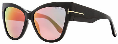 Tom Ford Women Cat Eye Sunglasses TF371 01 Shiny Black Frame Gray/Violet Lens
