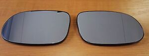 Mercedes R129 R170 W208 rear view mirror heated glass with holder Kit Set 2x New