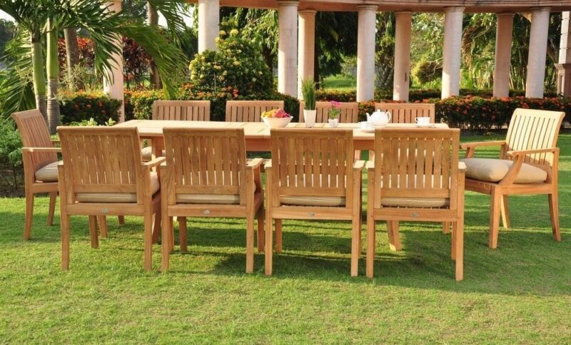 "11-piece Outdoor Teak Dining Set: 94"" Rectangle Extn Table, 10 Arm Chairs Lagos"