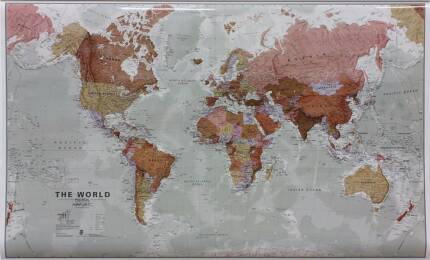 Map of the world large other antiques art collectables laminated large world map rrp 140 gumiabroncs Choice Image