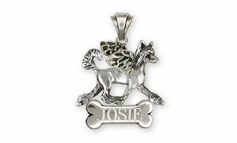 Chinese Crested Angel Pendant Jewelry Sterling Silver Handmade Dog Pendant CC5-A