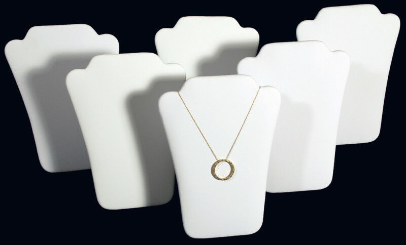 """6 New White Leather Padded Necklace Pendant Display 6"""""""