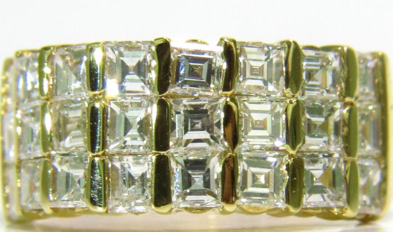 █$7200 2.50CT ASCHER / SQUARE CUT DIAMONDS BAND G/H VS 14KT █ CHANNEL DECO