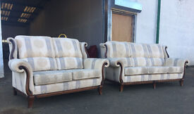 3+2 high quality fabric oak framed sofas DELIVERY AVAILABLE