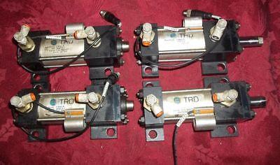 Lot Of 4 Bimba Pneumatic Cylinders Cyl-956-2107prox. Switch Flow Controls
