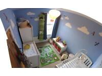 baby cot/converter bed / changing unit drawers / wardrobe