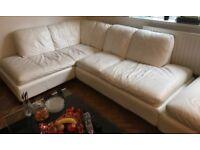 Corner leather sofa with extra seat