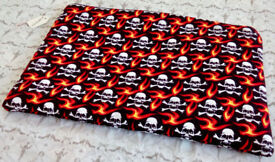 Handmade Skull Print Pouch Bag cosmectic Pouch Make Up Bag School Pouch