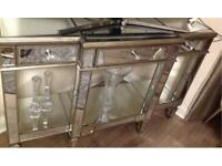 Mirrored 3 drawer Console table