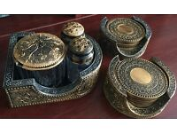 For sale Indian Salt, Pepper & Pickle Container set also 2 sets of Coasters