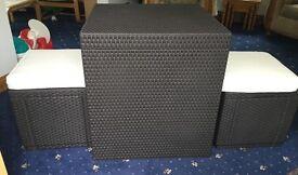Allibert Garden rattan Table & 2 Storage Cube Stools With Cushion Rattan Graphite Or