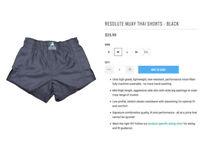 New: Muay Thai Shorts Size M, Anthem Athletics Resolute, plain Black (kickboxing K1)