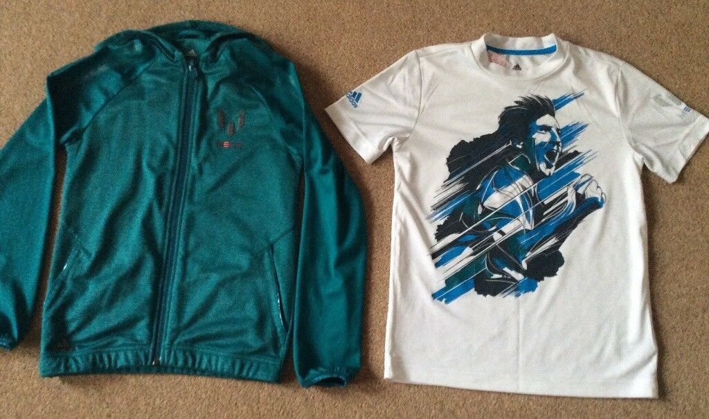 Adidas Messi Full Zip Hoodie & TShirt 9 - 10 Years - Excellent Condition