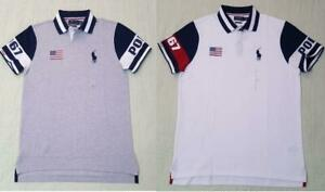 Polo Ralph Lauren Mens White USA Flag Polo 1967 Shirt NWT With Flag