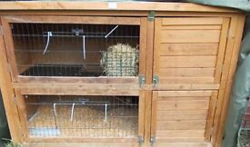 Double Rabbit Hutch with Waterproof cover & Large Rabbit Run