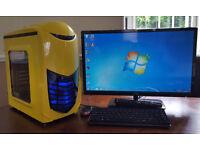 PC Computer Tower Intel Core 2 3GB 250GB HDD Win 7 Plus 21in TV Screen