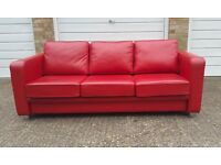 3-Seater sofa, Red Leather, BOSS Design