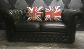 Stunning Chesterfield 2 Seater Sofa Thomas Lloyd Green Leather Low Back - UK Delivery