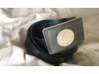 Bitcoin Buckle leather belt - brass or silver