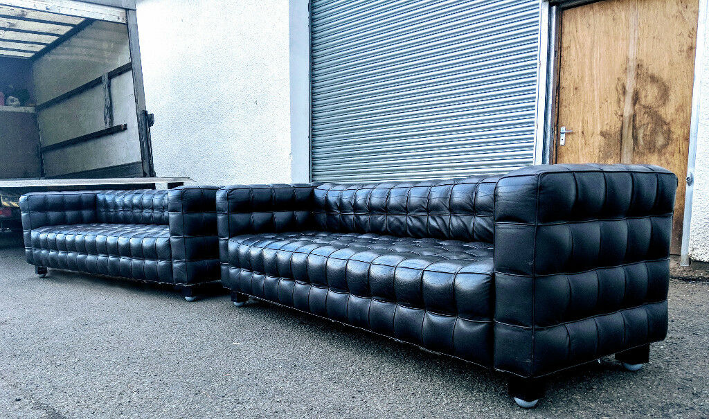 2 X Kubus By Josef Hoffmann 3 5 Seater Full Leather Retro Replica Sofas Delivery Available