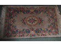 Vintage Chinese Wool Rug, Backed, Beige with Florals 155 x 93 cm + Fringe
