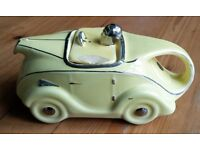 SADLER 1930s ART DECO YELLOW/SILVER LUSTRE RACING CAR TEAPOT OKT42