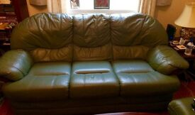 Quality leather 3 seater settee,matching chair and large storage footstool