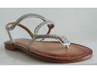 silver snake sandals size 5