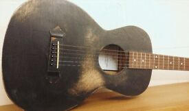 Tonk Brothers Hand Made Parlour Guitar in Trashed Black Made in the UK