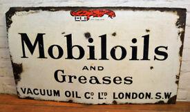 Mobiloils and Greases 1930s enamel sign garage petrol vintage antique industrial decor pub mancave