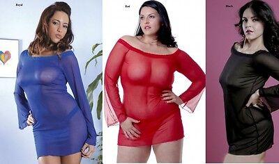 PLUS SIZE BABYDOLL CHEMISE DRESS THONG PANTY 1X 2X 3X 4X 5X 6X RED BLACK BLUE