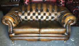 Golden brown leather 2 seater Chesterfield sofa