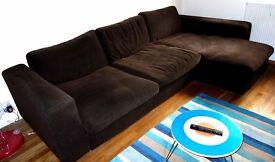 John Lewis Corner Sofa in Chocolate Brown Fabric